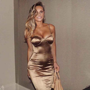 2018 Sexy Padded Bra Bodycon Midi Dress V Neck Sleeveless Split Back Cross Straps Gold Wine Red Knee length Party Dress