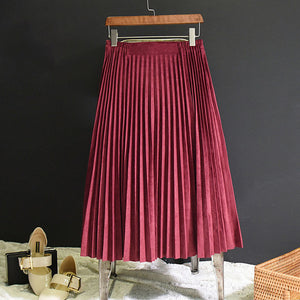 2018 New Fashion Summer Women Suede Skirt Pink White Long Pleated Skirts Womens Saias Midi Faldas Vintage Women Midi Skirt