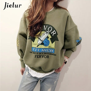 2017 Winter Autumn New Harajuku Funny Cartoon Tracksuit for Women Pullover Fleece Hoodies Loose Female Sweatshirt Army Green 2XL