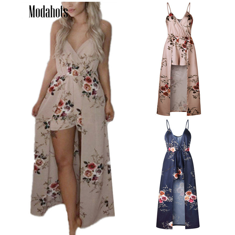 6 Color Floral Print V Neck Spaghetti Straps Sleeveless Jumpsuit for Women Rompers Summer Beach Sexy Maxi Overalls Playsuit Blue