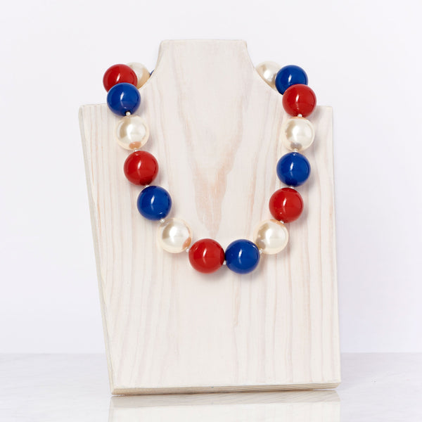 Red/Ivory/Blue Necklace