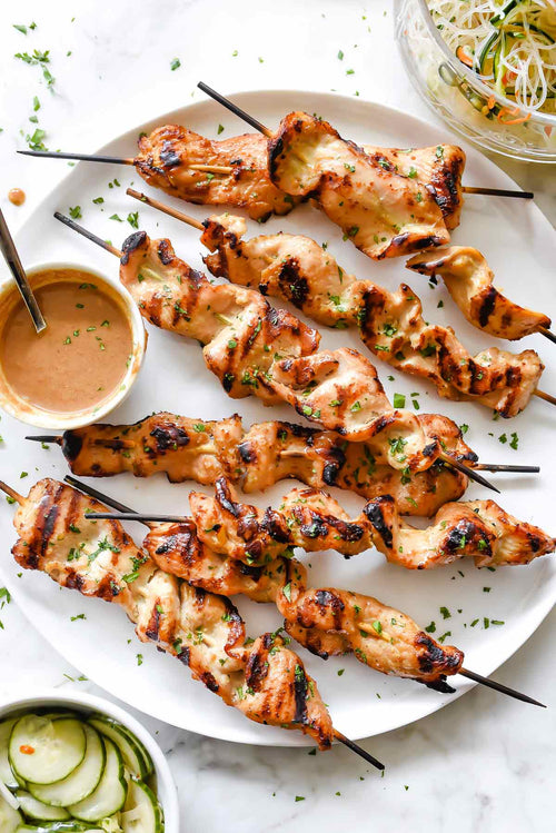 Chicken Satays with Peanut Sauce