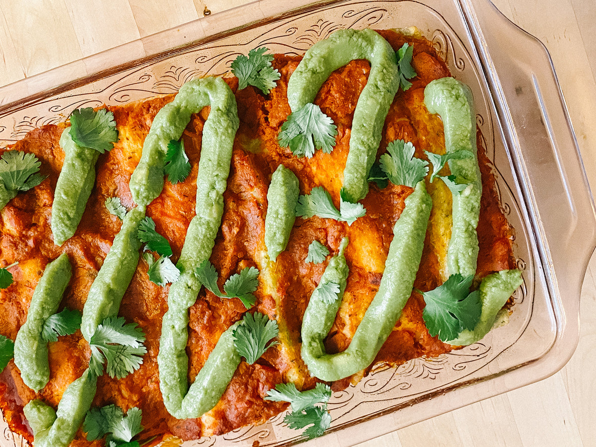 Sweet Potato & Black Bean Enchiladas with Guacamole