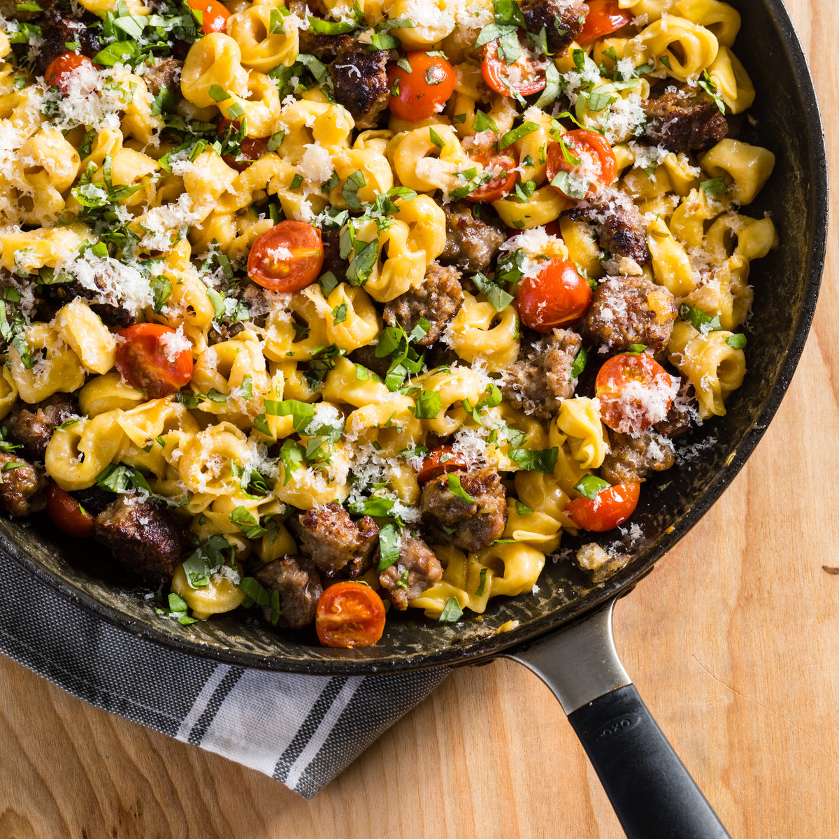 Skillet Tortellini with Sausage & Cherry Tomatoes