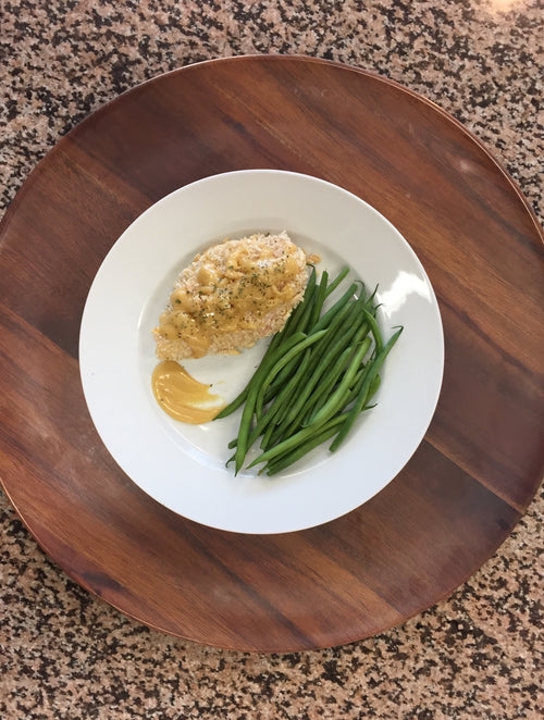 Almond Crusted Chicken with Lemon Sauce and Green Beans