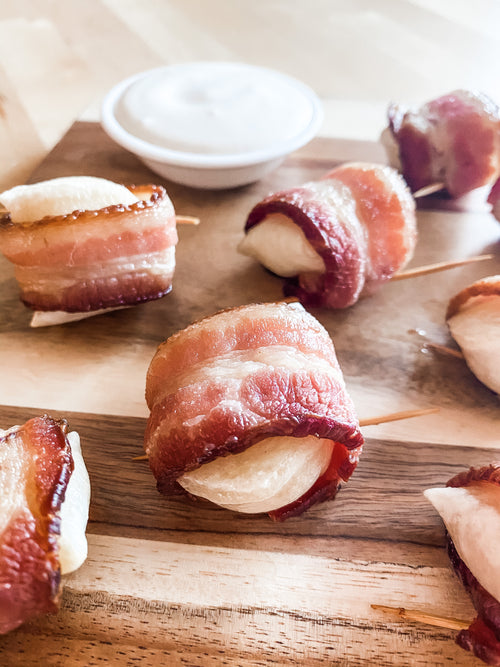 Mini Perogies Wrapped in Bacon