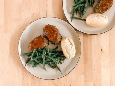 *Fresh* Glazed Mini Meatloaves with Pesto Green Beans