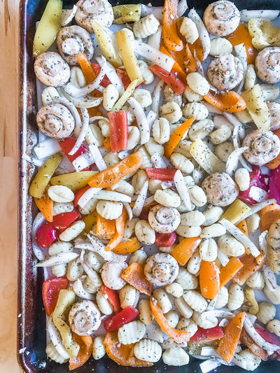 *Fresh* Italian Sausage Tray Bake with Gnocchi & Bell Peppers