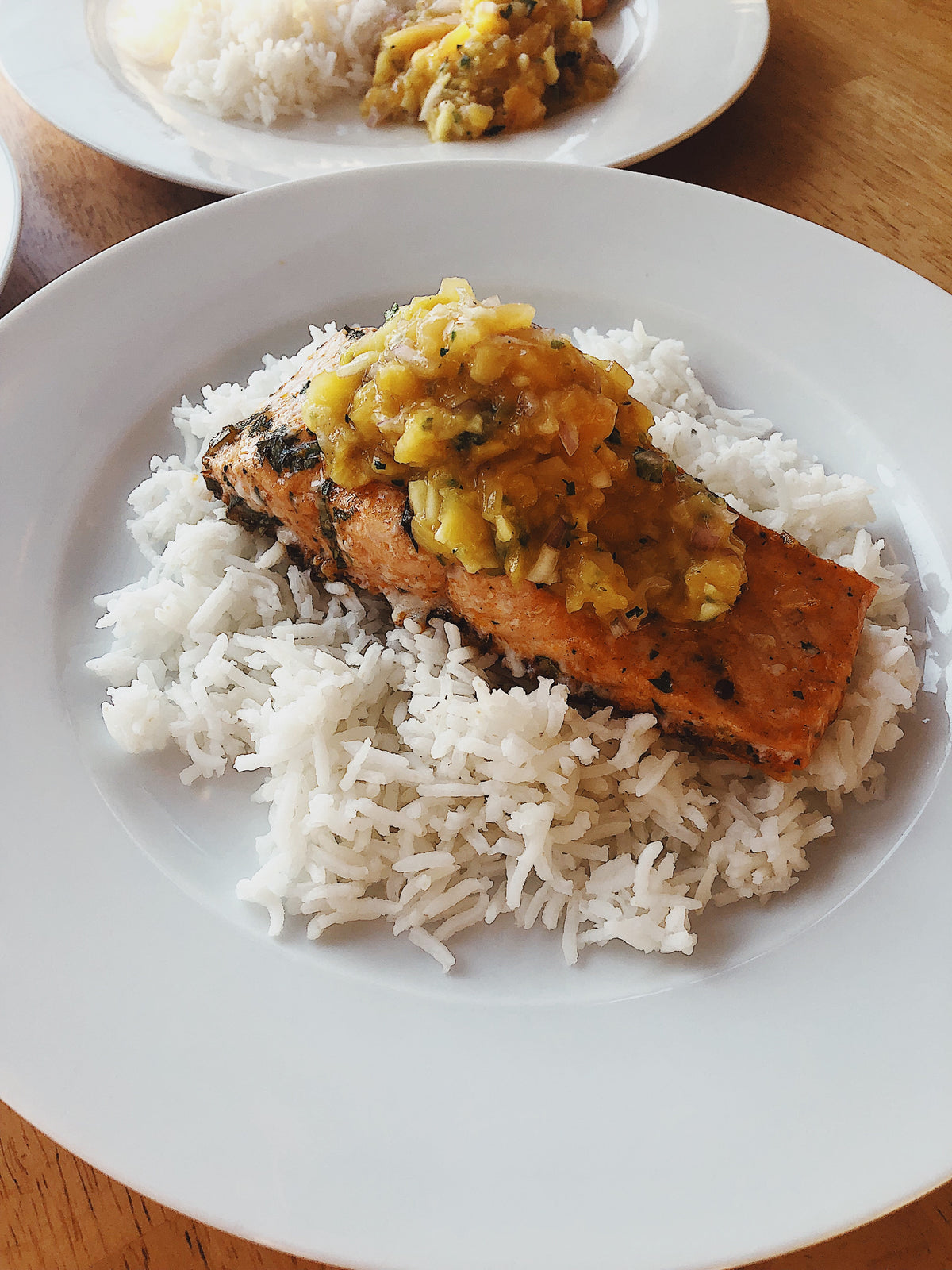Southwest Salmon with Mango Peach Salsa