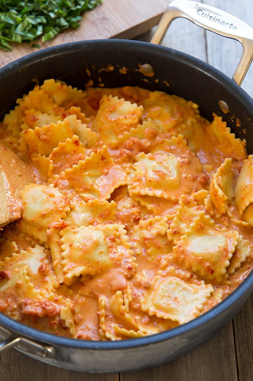 Cheese Ravioli with Spicy Sausage Cream Sauce