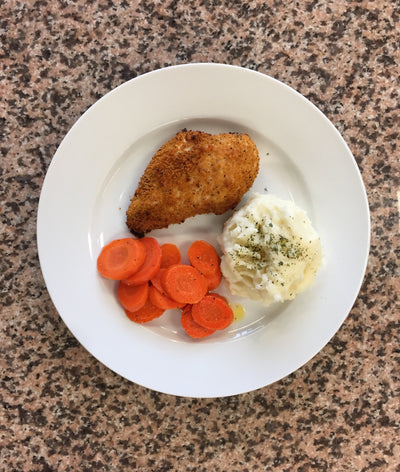 Shake It Up Chicken with Mashed Potato & Citrus Carrots