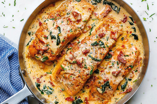 One Pan Salmon with Cherry Tomatoes & Orzo