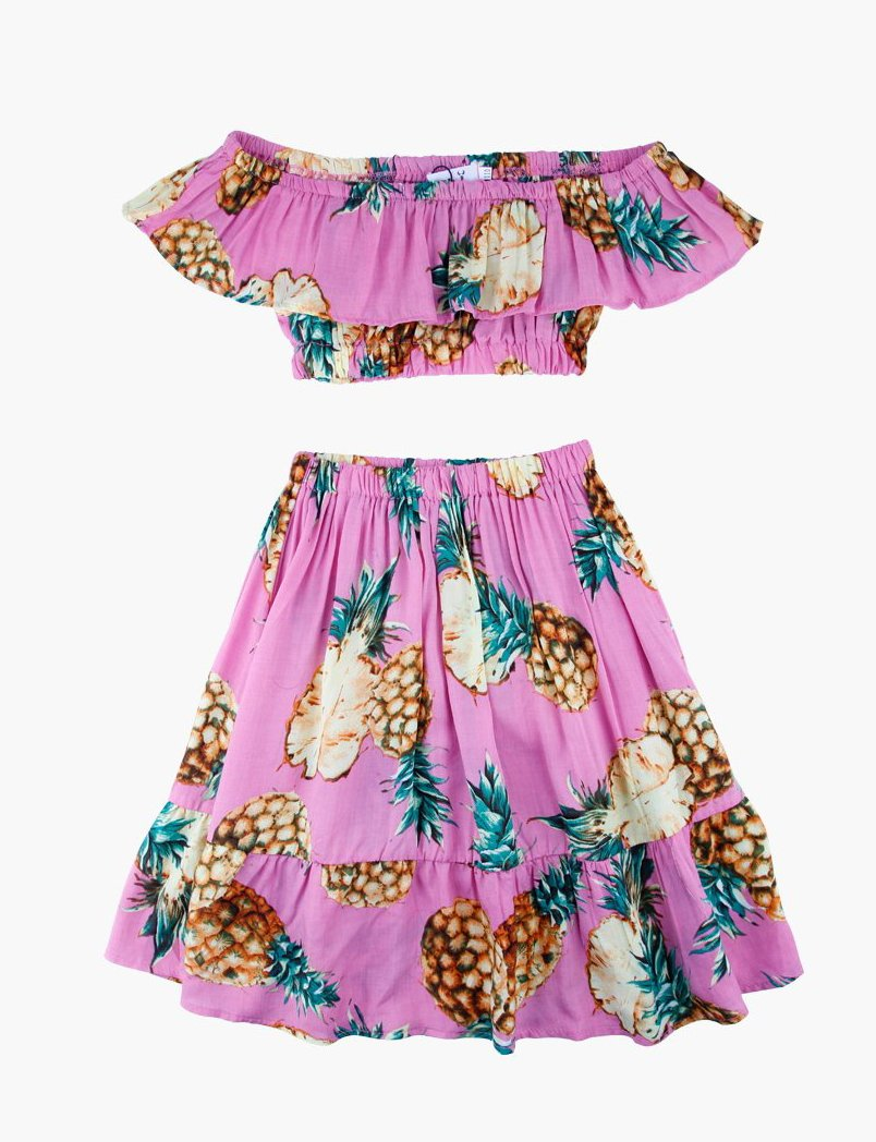 Vacay baby- two piece pineapple skirt set