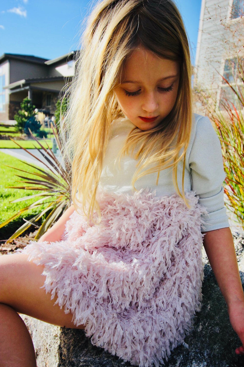 Pink toddler feather dress