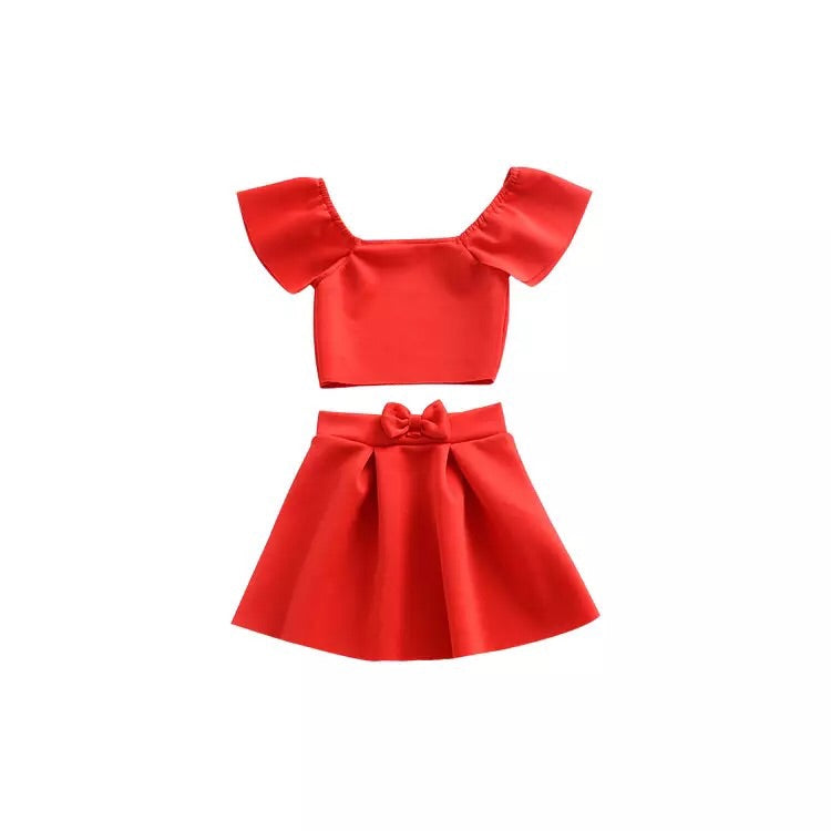 Red hot party two piece skirt set