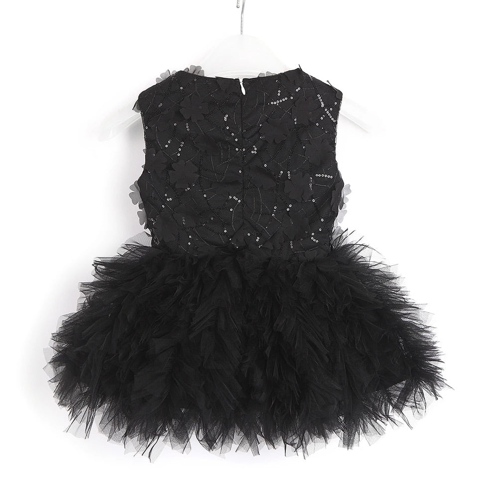 Black tulle dress with flower detail