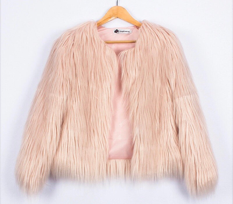 North West pink faux fur jacket