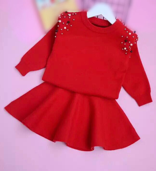 Red studded sweater set