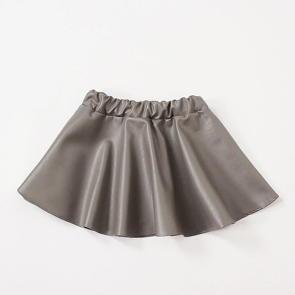 Pre Order Grey faux leather skirt
