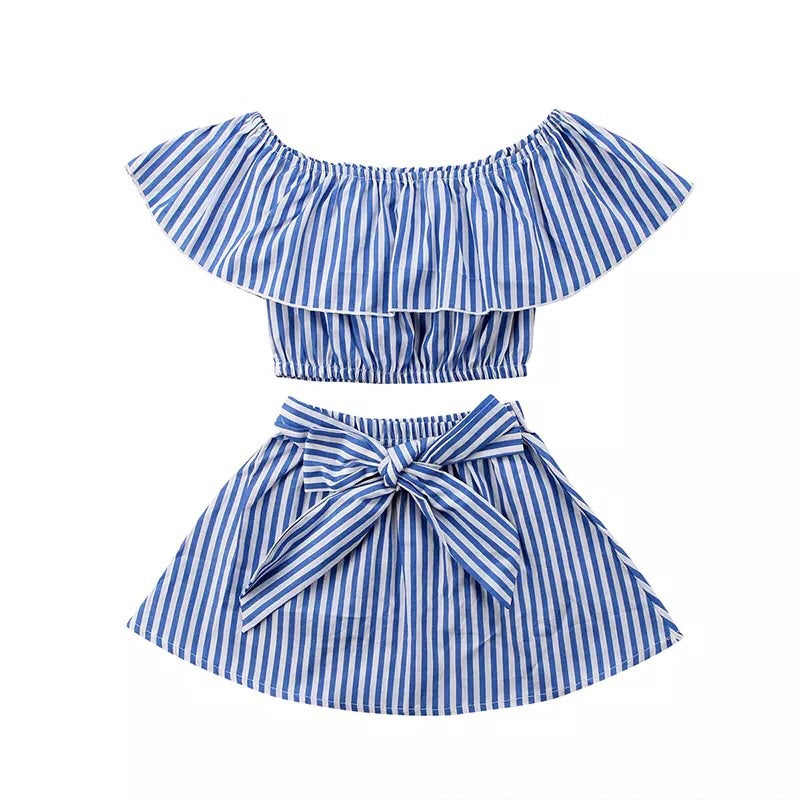 Resort two piece stripe skirt set