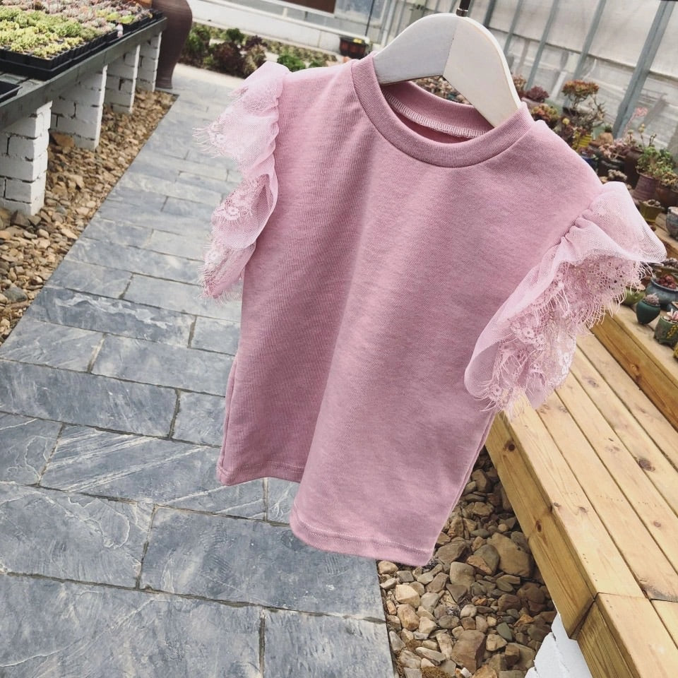 Short sleeve lace t shirt