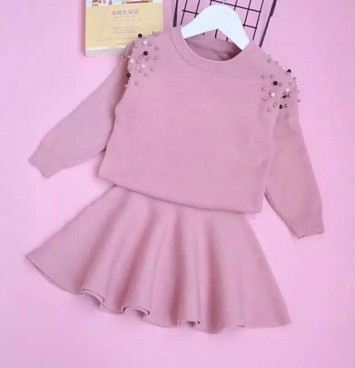 Studded pink sweater skirt set