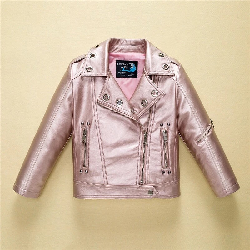 Metallic pink leather jacket