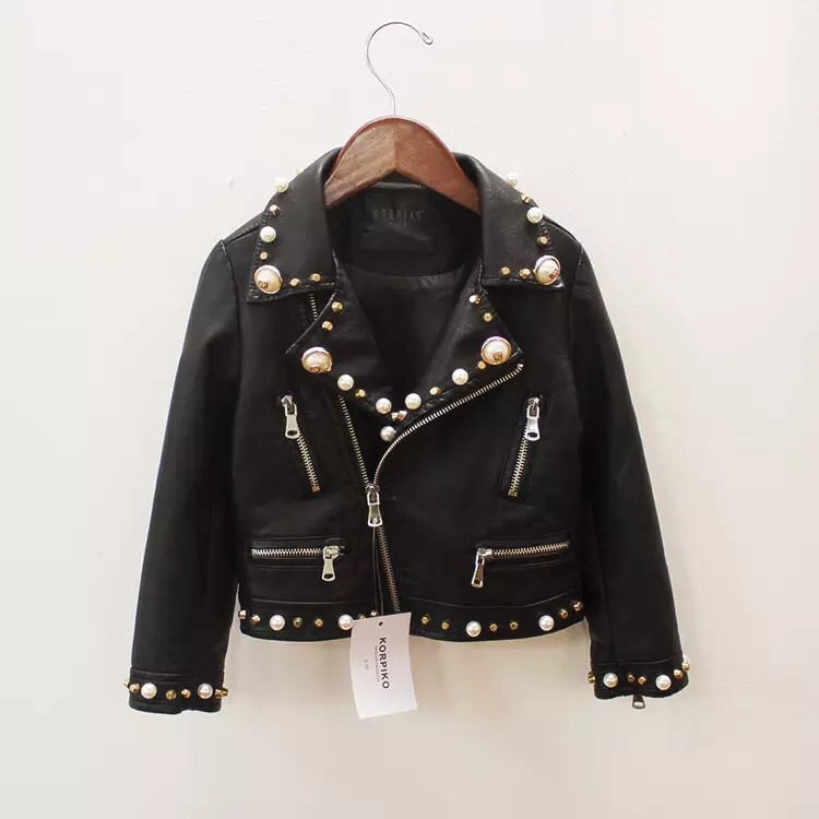 Embellished faux leather jacket