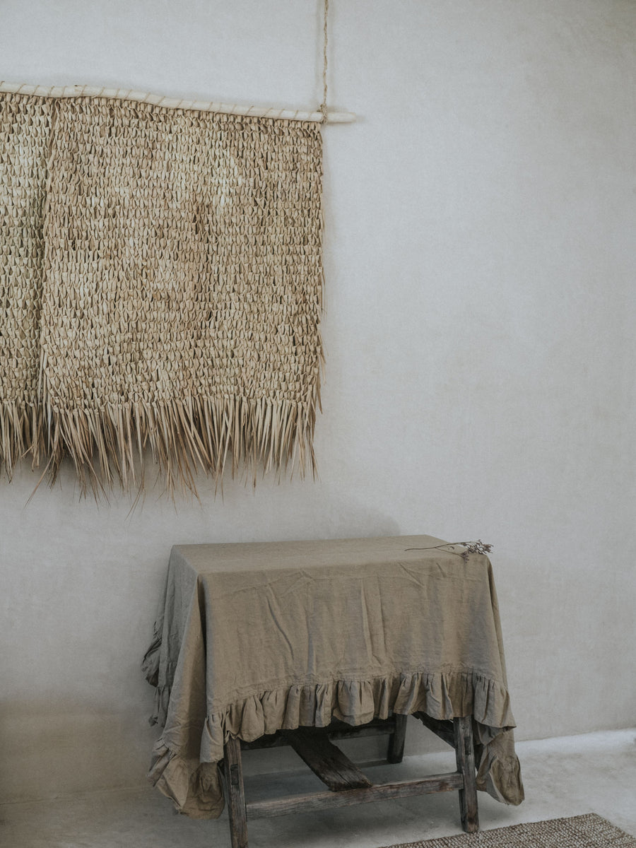 Linen Ruffled Tablecloth