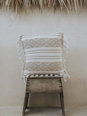 Woven Cotton Pillow - Off white Embroidery
