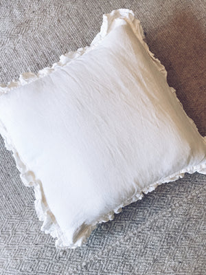 Linen Ruffle Cushion Cover