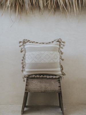 Woven Cotton Pillow - Khaki Embroidery
