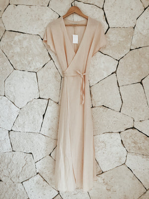 Long Linen Wrap Dress - Arena Maxi