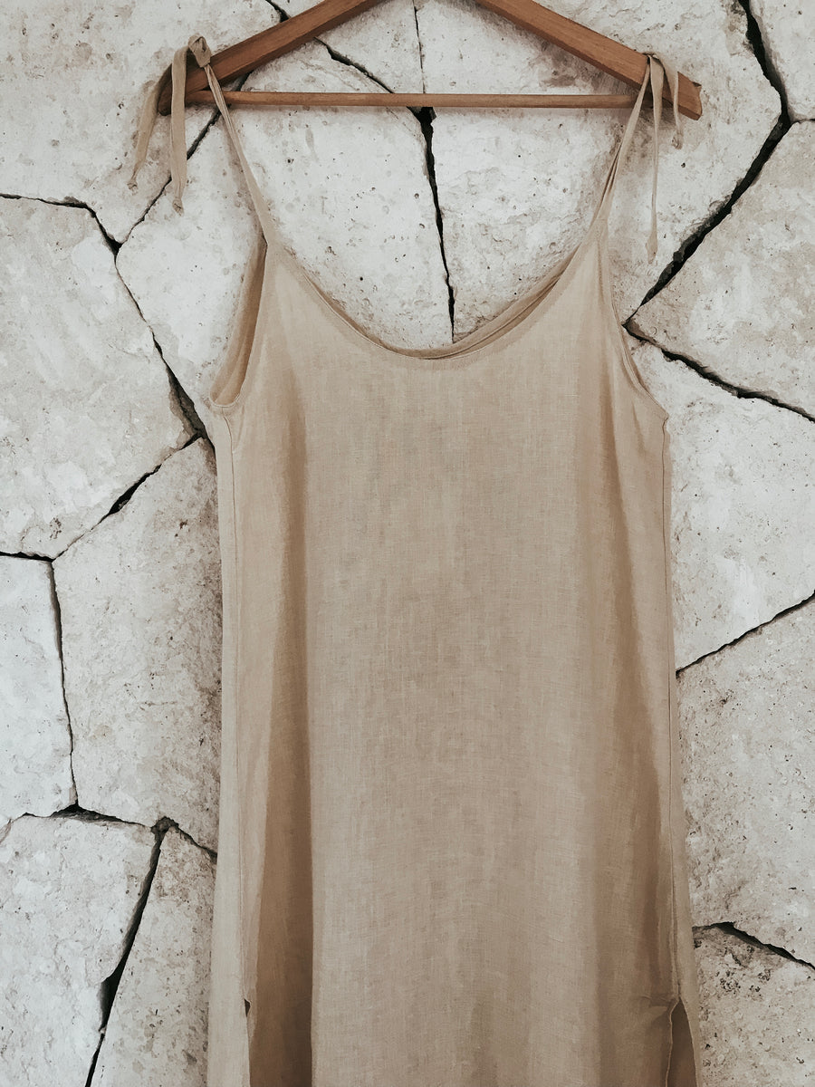 Long Linen Slip Dress - Sol