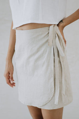 Short Linen Wrap Skirt - La Cocinera