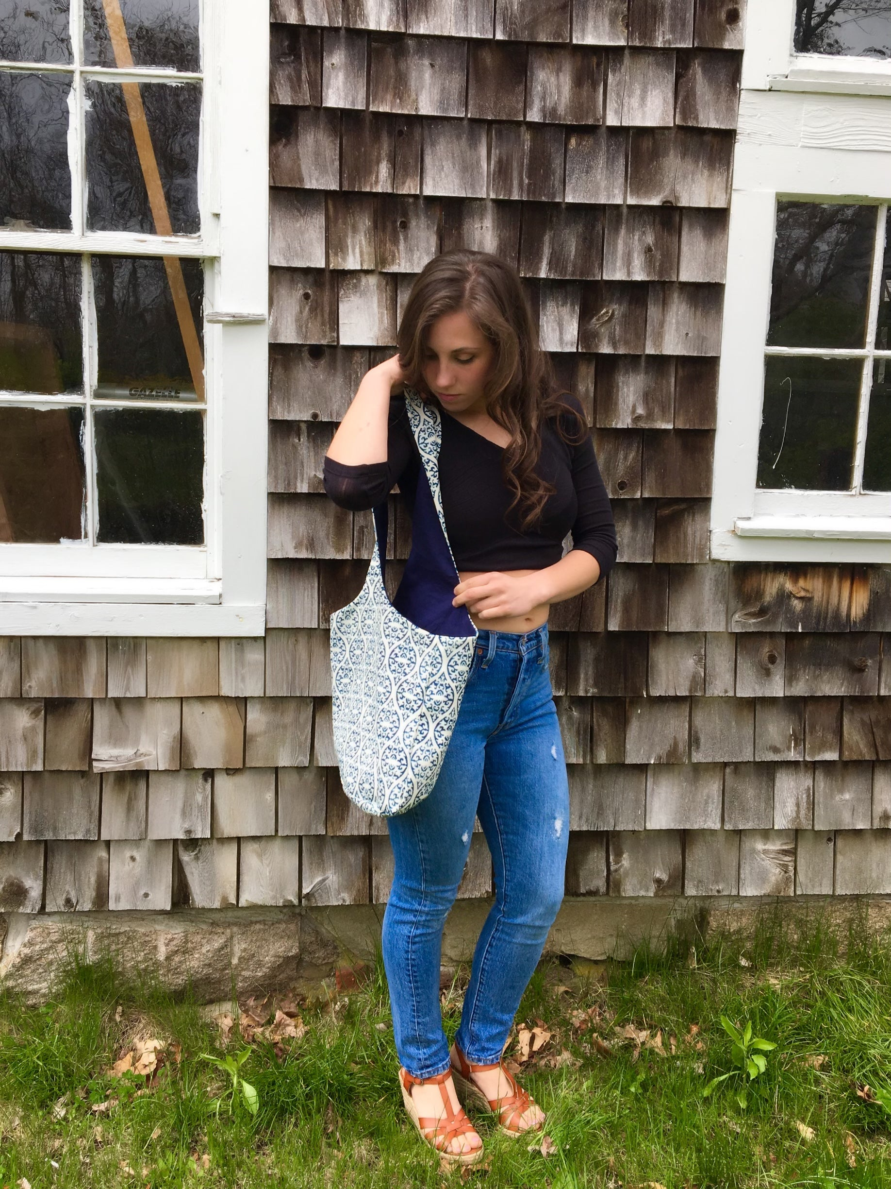 Navy Print Shoulder Bag