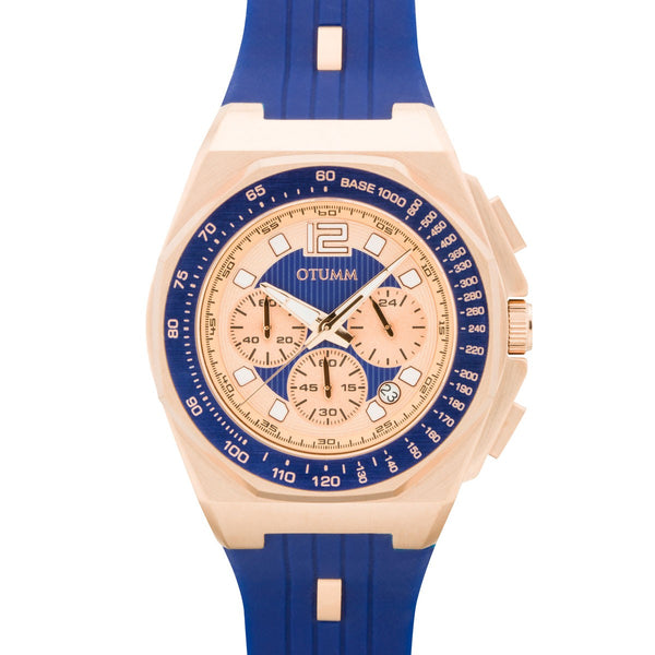 Sports Tachymeter Chrono Rose Gold 1205 Blue 45mm