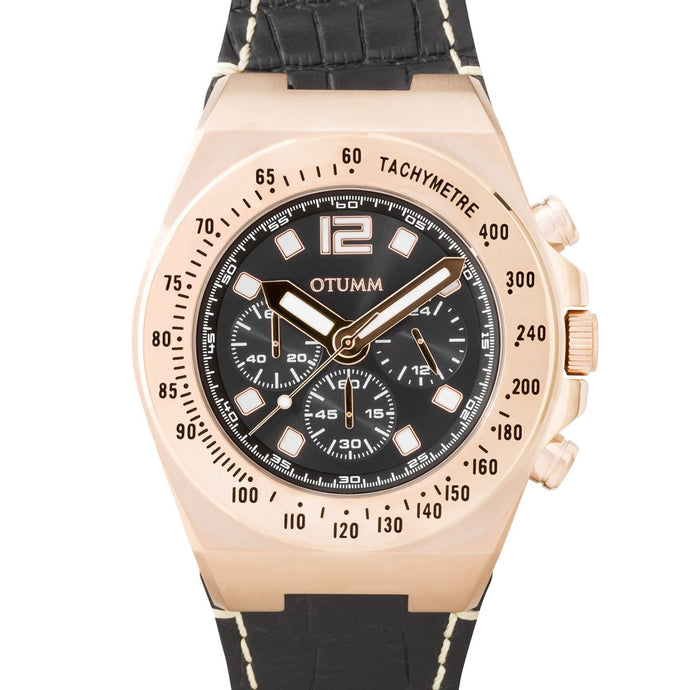 Athletics Chrono Leather Rose gold Black 45mm