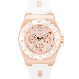 Sea Breeze Multi Function Rose Gold White Strap 40mm RG Dial