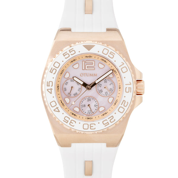 Sea Breeze Multi Function Rose Gold White Strap MOP 40mm