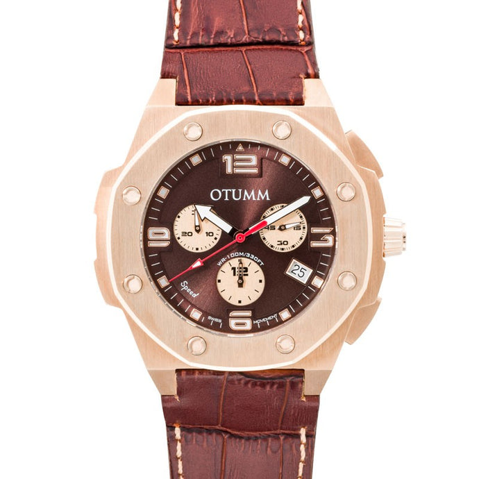Speed Leather Rose Gold 004 45mm