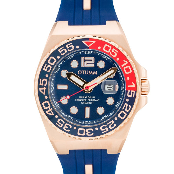 Athletics Rose Gold Calendar Blue 45mm