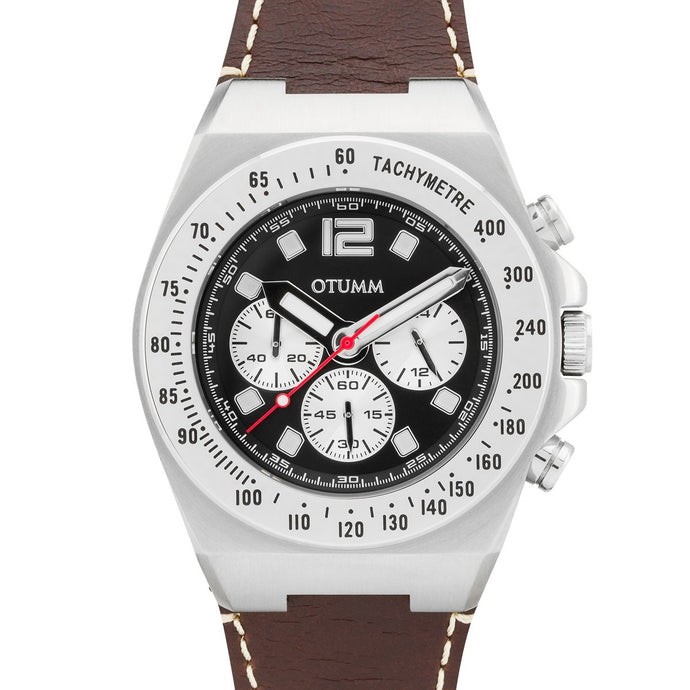 Athletics Chrono Leather Steel Black 45mm