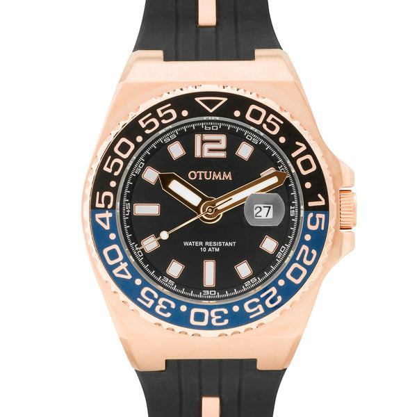Athletics II Calendar Bi-Colour Rose Gold 45mm Black