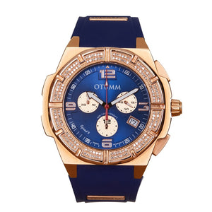 Diamond Speed II Rose Gold Blue 45mm Diamond Bezel