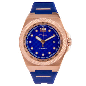 Automatic Rose Gold Blue Silicone 45mm