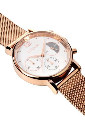 Mesh Rose Gold Chrono White Dial 43mm