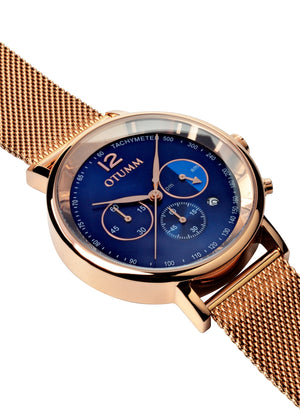 Mesh Rose Gold Blue Dial 43mm