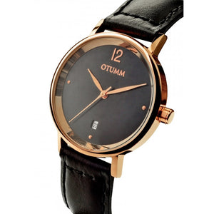Mesh Leather Lady Rose Gold Black Strap 36mm