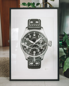 """Big Pilot"" & Spitfire Watch Drawing — Horological Art Print by Artist Tamás Fehér"